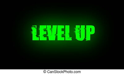 Letters of Level up text with noise on black, 3d render...
