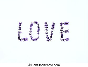 Letters of love from fresh lavender flower
