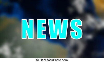 Letters of News text on background with rotating earth, 3d render background, computer generating for news