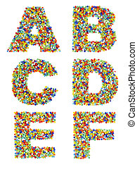 Letters of the alphabet A through F made from colorful glass beads on a white