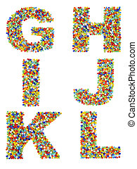 Letters of the alphabet G through L made from colorful glass beads on a white