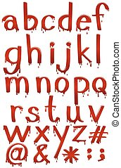 Letters of the alphabet in bloody template