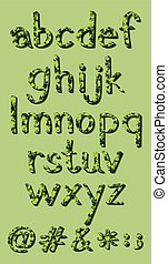 Letters of the alphabet in green colors