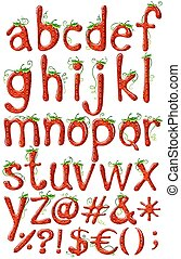 Letters of the alphabet in strawberry template