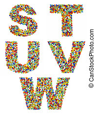 Letters of the alphabet S through W made from colorful glass beads on a white