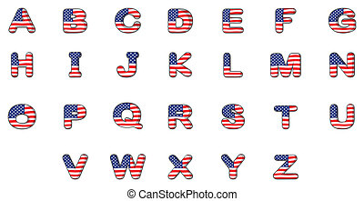Letters of the alphabet with the American flag -...