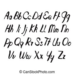 Letters of the alphabet written.