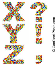 Letters of the alphabet X through Z and punctuation marks made from colorful glass beads on a white