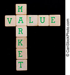 Letters on wooden blocks (value, market)