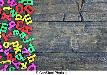 Letters on wooden table
