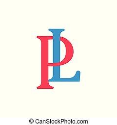 letters pl colorful design logo vector