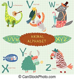 letters., rayon x, vautour, yak, v, ultrasaurus, très, mignon, fish, alphabet., zebra, loup, x, w, y, z, u