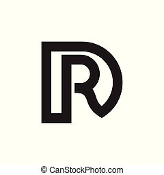 letters rd linked line logo vector