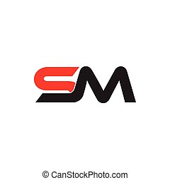 letters sm simple geometric linked logo vector