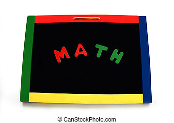Letters Spell Math on Black Magnetic Board