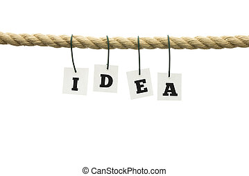 Letters spelling - Idea - hanging on a rope