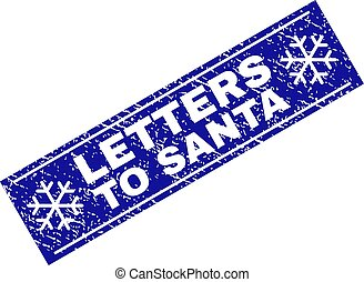 LETTERS TO SANTA Grunge Rectangle Stamp Seal with Snowflakes