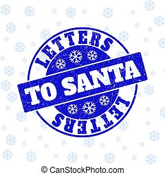 Letters to Santa Scratched Round Stamp Seal for Christmas