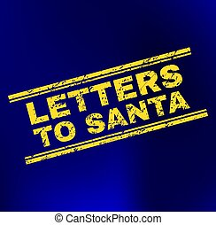 LETTERS TO SANTA Scratched Stamp Seal on Gradient Background