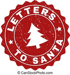 LETTERS TO SANTA Scratched Stamp Seal with Fir-Tree
