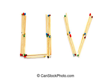 Letters U and V made of matches