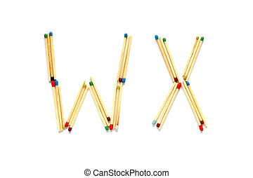 Letters W and X made of matches on a white background