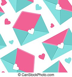Letters with heart. Vector illustration. Envelope icons. Love mail. Valentine day greeting card background.