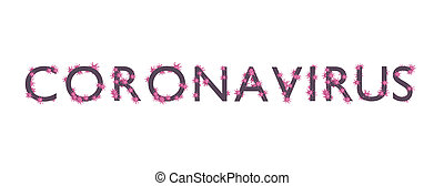 Letters with stuck viruses, word coronavirus. 3d render