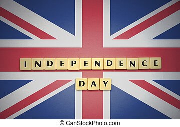 letters with text independence day on the national flag of great britain.