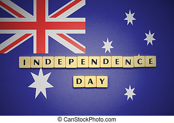 letters with text independence day on the national flag of australia.