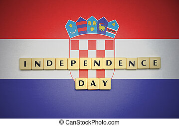 letters with text independence day on the national flag of croatia.
