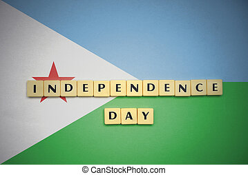 letters with text independence day on the national flag of djibouti.