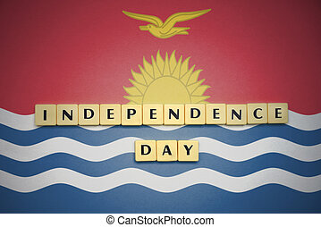 letters with text independence day on the national flag of Kiribati.