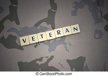 letters with text veteran on the khaki background. military...