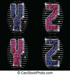 Letters Y,Z with shiny rhinestones