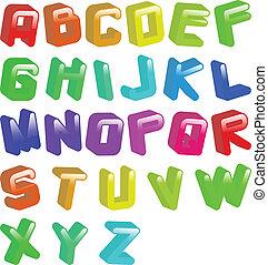 lettertype, 3d, jellybean