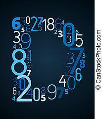 lettertype, d, vector, getallen, brief