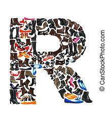 lettertype, gemaakt, van, honderden, van, schoentjes, -, brief, r