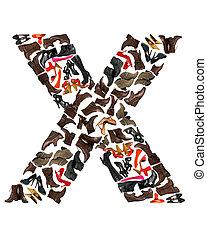 lettertype, gemaakt, van, honderden, van, schoentjes, -, brief x