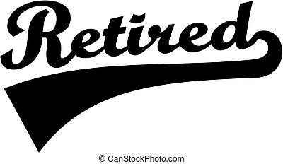 lettertype, gepensioneerd, retro