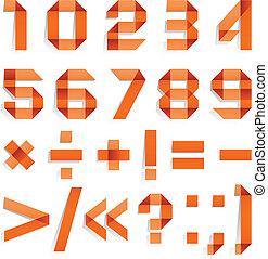 lettertype, ineengevouwen , van, papier kleurde, -, arabische , cijfers, sinaasappel