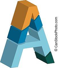 lettertype, laten, driedimensionaal, kleurrijke