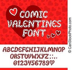 lettertype, lente, hartjes, romantische, feestdagen