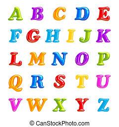 lettertype, letters., vrijstaand, collection., 3d, alfabet, ...