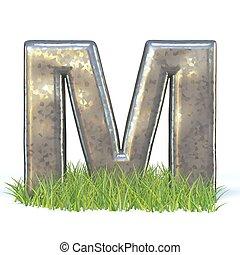lettertype, metaal, m, gegalvaniseerde, brief, gras, 3d