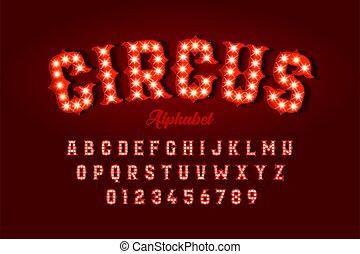 lettertype, ontwerp, circus, stijl