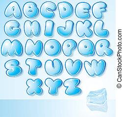 lettertype, ontwerp, ijs