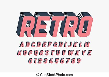 lettertype, ontwerp, retro stijl