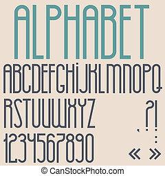 lettertype, punctuatie, getallen, retro, tekens