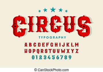 lettertype, retro, circus, stijl